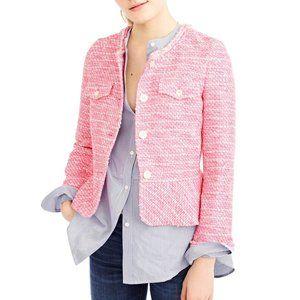 J.Crew Boucle Tweed Peplum Lady Jacket Blazer Neon